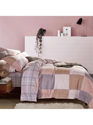Постельное белье фланель семейное Asabella. Цвет: бежевый, бледно-розовый, светло-серый