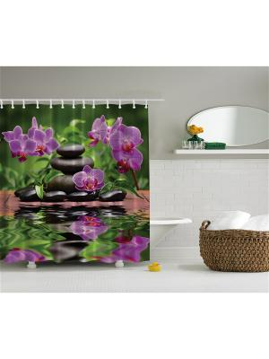 Фотоштора для ванной Разноцветные зонтики, фиолетовые орхидеи, жёлто-красные деревья, ракушка на п Magic Lady. Цвет: черный, зеленый, коричневый, фиолетовый