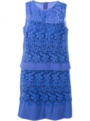 Кружевное платье Alberta Ferretti. Цвет: синий