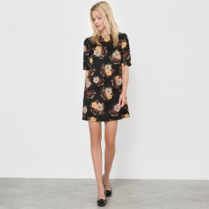 Платье с цветочным принтом и короткими рукавами MOLLY BRACKEN. Цвет: черный