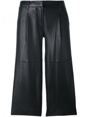 Кожаные укороченные брюки Michael Kors. Цвет: чёрный
