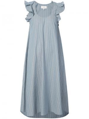 Платье миди в полоску The Great. Цвет: синий