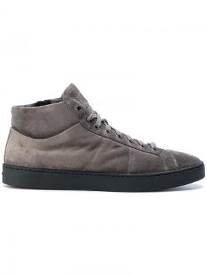 Замшевые кроссовки Santoni. Цвет: серый