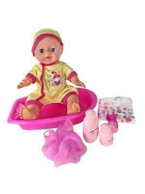Пупс  с ванной, 35 см Lisa Jane. Цвет: фуксия, желтый, розовый