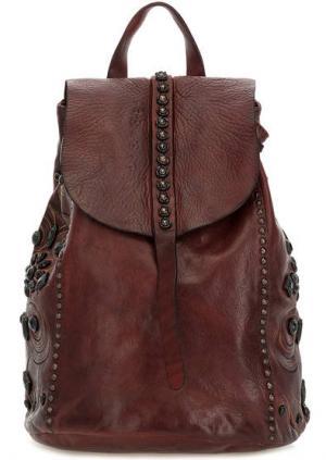 Бордовый рюкзак из натуральной кожи Campomaggi. Цвет: бордовый