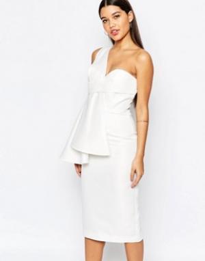 AQ Платье миди на одно плечо AQ/AQ Tosso. Цвет: кремовый