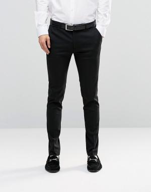 ASOS Черные супероблегающие строгие брюки. Цвет: черный