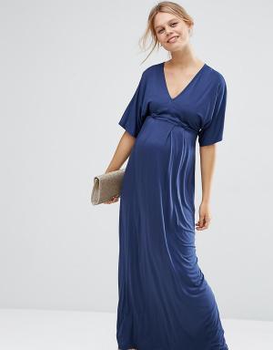 ASOS Maternity Платье-кимоно макси для беременных PETITE. Цвет: темно-синий