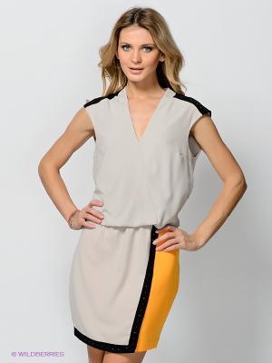 Платье Vero moda. Цвет: светло-серый, желтый, черный