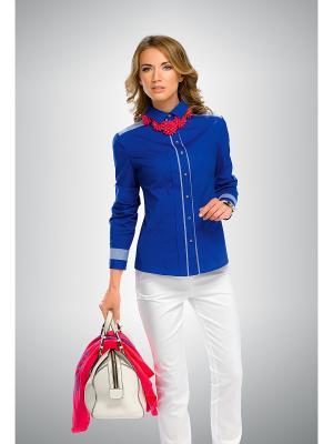 Блузка PELICAN. Цвет: синий, белый