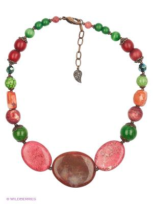 Колье Роман с камнем. Цвет: зеленый, розовый