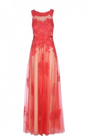 Приталенное кружевное платье в пол с декоративной вышивкой Basix Black Label. Цвет: красный