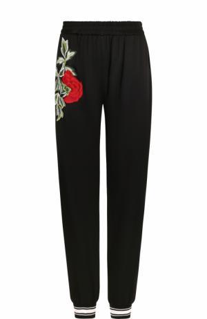 Однотонные джоггеры с контрастной цветочной вышивкой Philipp Plein. Цвет: черный