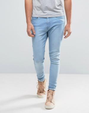 Waven Синие суперузкие джинсы с напылением. Цвет: синий