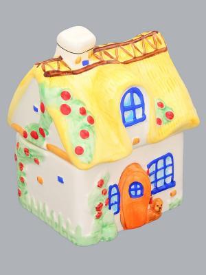 Банка для чая и кофе Уютный домик Elan Gallery. Цвет: желтый, белый, синий, красный
