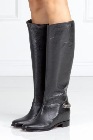 Кожаные сапоги Cate Boot Flat Christian Louboutin. Цвет: черный