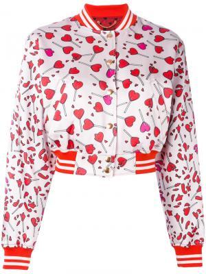 Куртка-бомбер  с принтом сердец Diesel. Цвет: розовый и фиолетовый