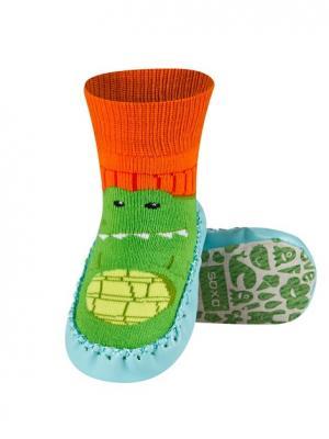 Тапочки-носочки детские SOXO. Цвет: зеленый, голубой, оранжевый
