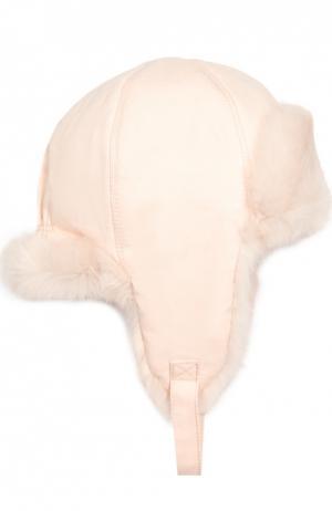 Шапка-ушанка с внутренней отделкой из меха кролика Yves Salomon Enfant. Цвет: светло-розовый