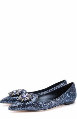 Балетки с вышивкой пайетками и кристаллами Dolce & Gabbana. Цвет: синий