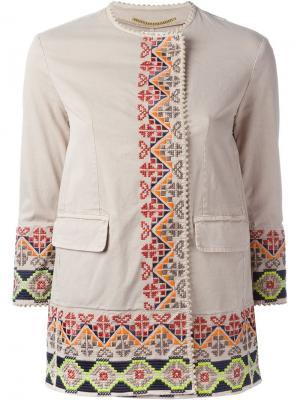 Куртка с вышивкой Bazar Deluxe. Цвет: телесный