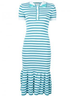 Платье-поло в полоску Natasha Zinko. Цвет: синий