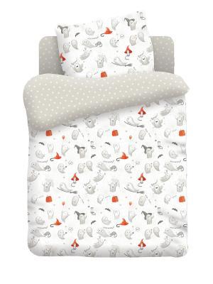 Комплект постельно белья в детскую кроватику поплин Добрые привидения Непоседа. Цвет: белый