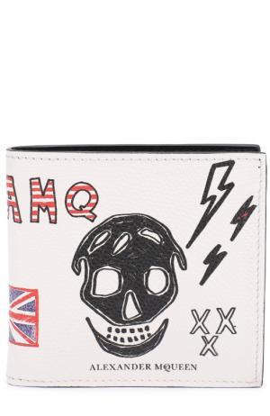 Кожаное портмоне с принтом и отделением для кредитных карт Alexander McQueen. Цвет: белый