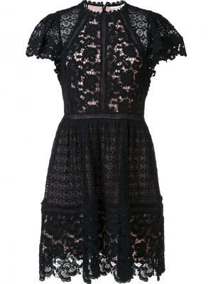 Кружевное платье с плиссированной юбкой Rebecca Taylor. Цвет: чёрный