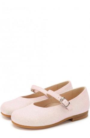Туфли с глиттером и ремешком Il Gufo. Цвет: розовый