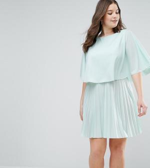 ASOS Curve Короткое платье-кимоно с плиссировкой и кейпом. Цвет: зеленый