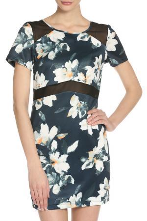 Короткое платье с полупрозрачными вставками GIRLS ON FILM. Цвет: floral