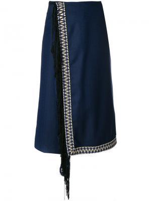 Укороченные брюки с запахом и бахромой Miahatami. Цвет: синий