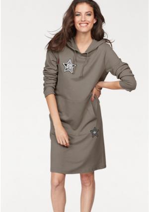 Платье Aniston. Цвет: оливковый