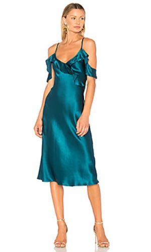 Платье миди anika Amanda Uprichard. Цвет: бирюзовый