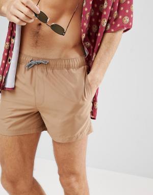 ASOS Коричневые короткие шорты для плавания. Цвет: коричневый