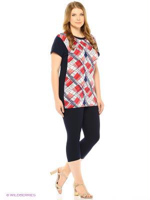 Комплект: футболка/капри Milana Style. Цвет: темно-синий