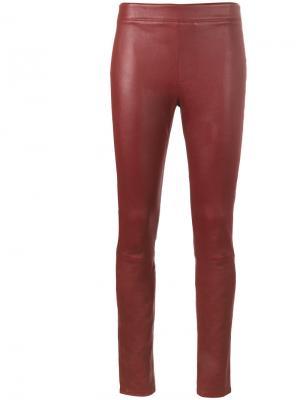 Кожаные леггинсы Helmut Lang. Цвет: красный