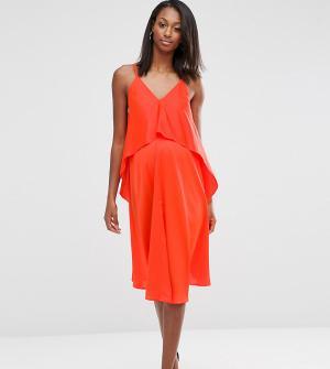 ASOS Maternity Двухслойное платье миди для беременных. Цвет: оранжевый