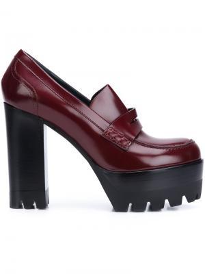 Туфли лоферы на платформе Mulberry. Цвет: красный