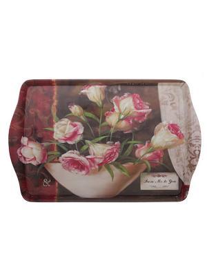 Поднос GiftLand. Цвет: бежевый, розовый, белый, темно-бордовый, коричневый