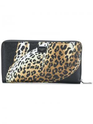 Кошелек с леопардом Dolce & Gabbana. Цвет: чёрный