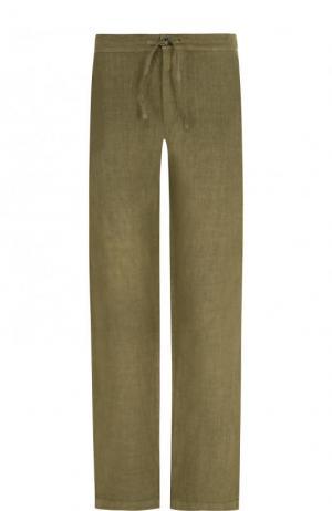 Льняные брюки прямого кроя с поясом на кулиске 120% Lino. Цвет: хаки
