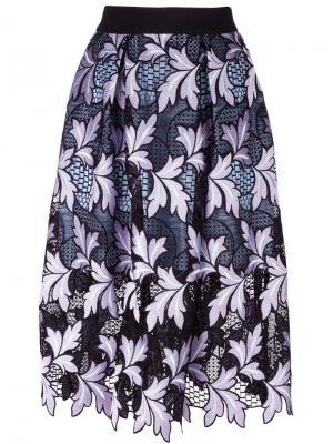 Пышная юбка с кружевным слоем Self-Portrait. Цвет: чёрный