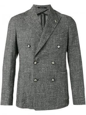 Фактурный двубортный пиджак Tagliatore. Цвет: многоцветный