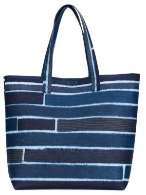 Полосатая сумка-тоут Luisa Cevese Riedizioni. Цвет: синий