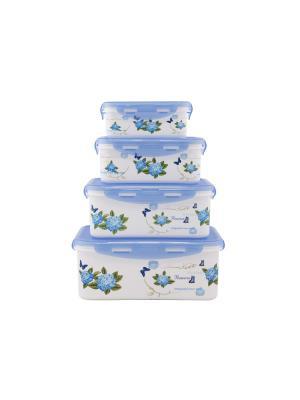 Набор контейнеров прямоугольных 4 пр.(2900 мл, 1850 1100мл, 680 мл) Синий PATRICIA. Цвет: синий
