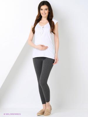Леггинсы для беременных 40 недель. Цвет: темно-серый, серый меланж