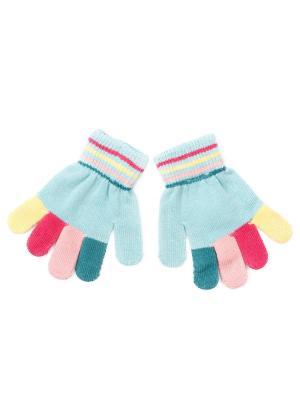 Перчатки трикотажные для девочек PlayToday. Цвет: голубой