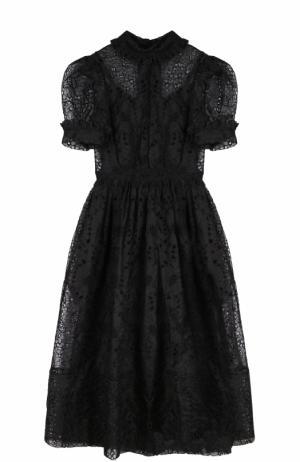 Приталенное бархатное платье с рукавом-фонарик Simone Rocha. Цвет: черный